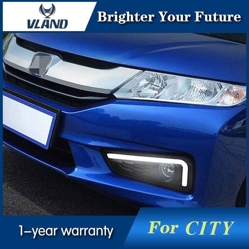 2PCS LED Daytime Running Light DRL LED Fog Lamp For Honda City 2015 2016 2017 Day Light with Turn Signal Light daytime running light 100% waterproof led drl white and red color day light fog light turning signal flexible car running light