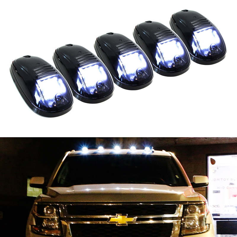 5pcs Amber Yellow LED Cab Roof Top Marker Running Clearance Lights For Ford Truck SUV Pickup 4x4 Top Marker Running Right