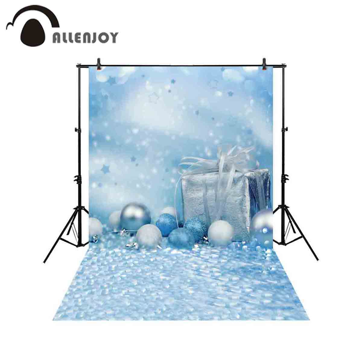 Christmas Gift Background: Allenjoy Photography Backdrop Blue Bokeh Christmas Gift
