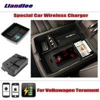 Liandlee для Volkswagen VW Teramont специальный автомобиль Беспроводное зарядное устройство подлокотник для хранения iPhone Android телефон зарядное устройст