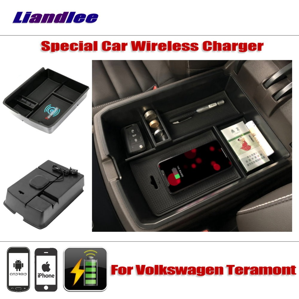 Liandlee For Volkswagen VW Teramont Special Car Wireless Charger Armrest Storage For iPhone Android Phone Battery Charger for volkswagen teramont 2017 2018 car mount qi wireless charger car central storage box phone wireless charger fast charging