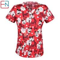 Brand medical scrub tops for women surgical scrubs,scrub uniform in 100% print cotton