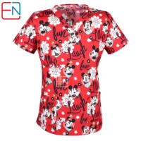 Brand medical scrub tops for women surgical scrubs,scrub uniform in 100% print cotton