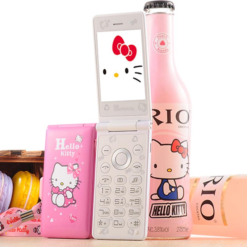 Unlocked Kuh D10 Dual Sim Cat Flip Phone Gprs Breath Light Women Girl Mp3 Mp4 Cartoon Hello Kitty Mobile Cell Phone image