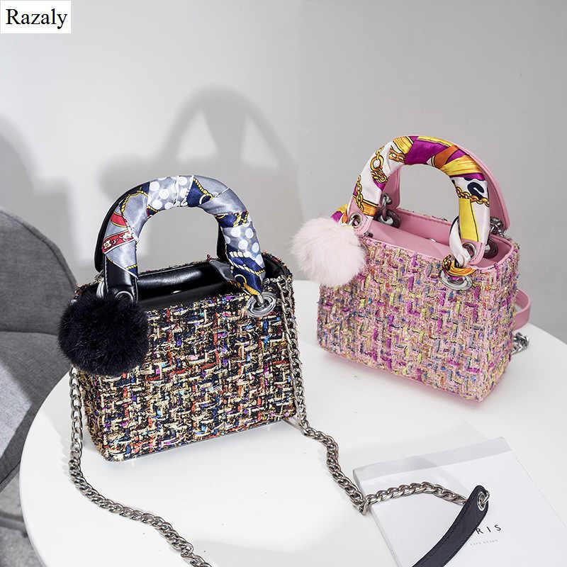 Razaly brand designer small satchels wool bucket tote basket send silk  scarf fur ball leather handle d35e2c3718