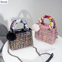 Razaly brand designer small satchels wool bucket tote basket send silk scarf fur ball leather handle chain bags handbags 2018