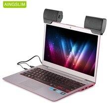 AINGSLIM נייד מיני סטריאו רמקול USB Wired 3.5mm שקע רמקולים למחשב נייד מחשב נייד מחשב שולחני Tablet מוסיקה נגן עם קליפ