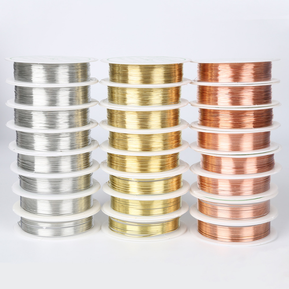US $0.88 11% СКИДКА|Медный провод, металлический шнур, серебристый, золотой, медный, Бисер для ювелирных изделий, 0,2/0,25/0,3/0,4/0,5/0,6/0,8/1 мм|Ювелирная фурнитура и компоненты| |  - AliExpress