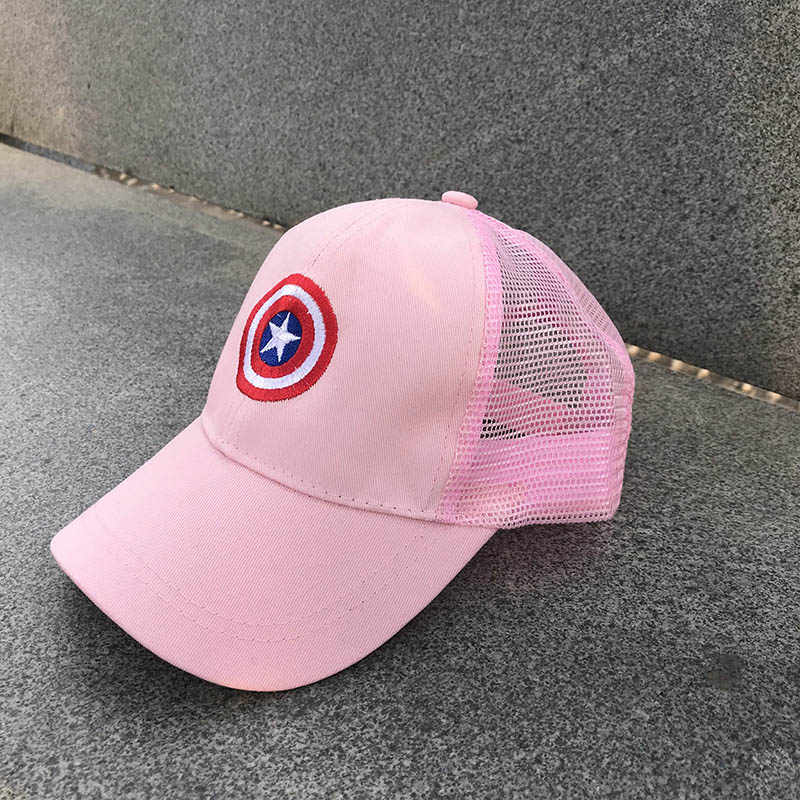 30701e2a75a ... 2018 Children Mesh Child Baseball Cap Hot Summer Captain America kids  Sun Hat Boys Girls snapback ...