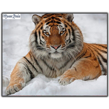 MOONCRESIN Diy Diamond Embroidery Tiger In Snow Diamond Mosaic Full Round 5D Diamond Painting Cross Stitch Decoration Resin Gift mooncresin diamond painting cross stitch comfortable tiger animal diy diamond embroidery full round 5d diamond mosaic decoration
