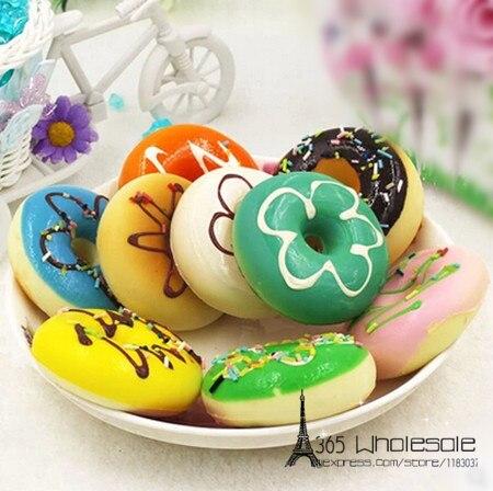 5pcs / lot 꽃 달콤한 케이크 도넛 인공 음식 6cm 가짜 모조 음식 빵집 생일 파티 가정 장식 사탕 선물