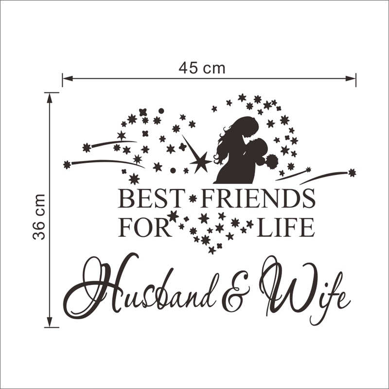 best friends for life husband and wife quotes wedding decorations wall  stickers bedroom love lettering words vinyl decals decor