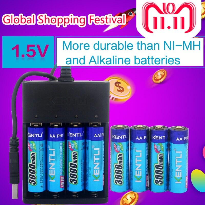 KENTLI 8 pcs 1.5 v 3000mWh AA rechargeable Li-polymère li-ion polymère batterie au lithium + 4 slots USB smart chargeur