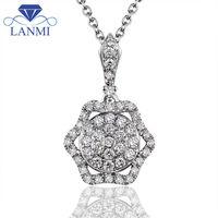 Flower Shape 18K White Gold Diamond Necklace Pendant VS Clarity G H Color For Women Wedding