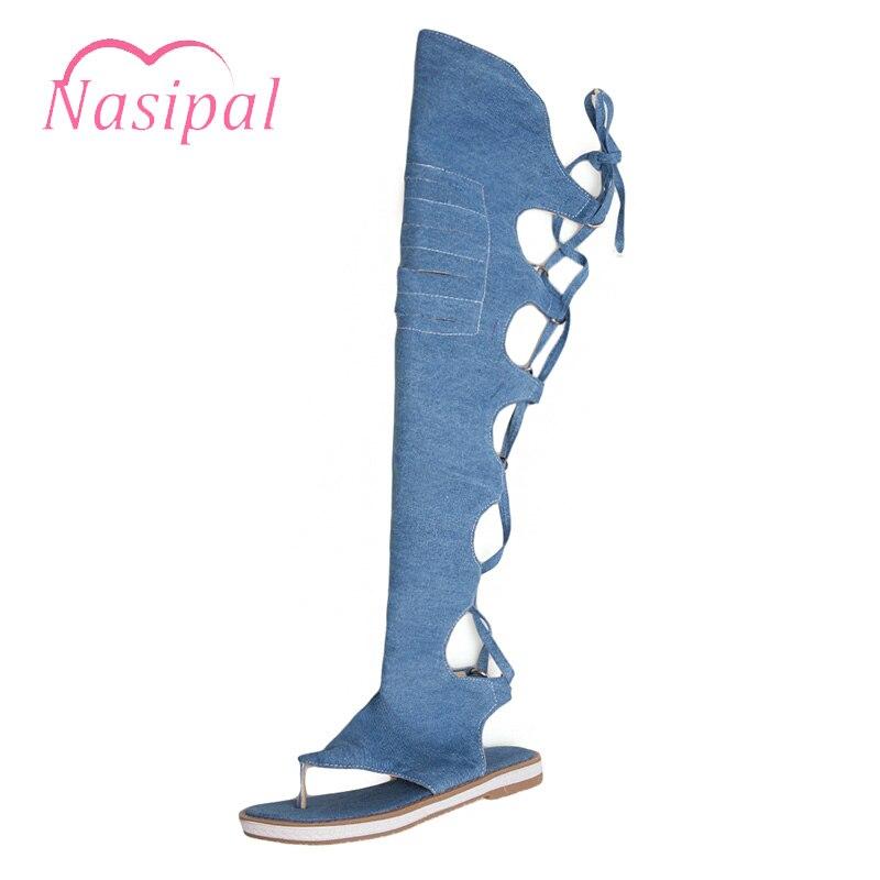 Nasipal Casual Summer Thigh High Boot Shoes Woman Denim Flt Heel Sandalias Lace Up Platform Sandals For Women Beach Shoes C605