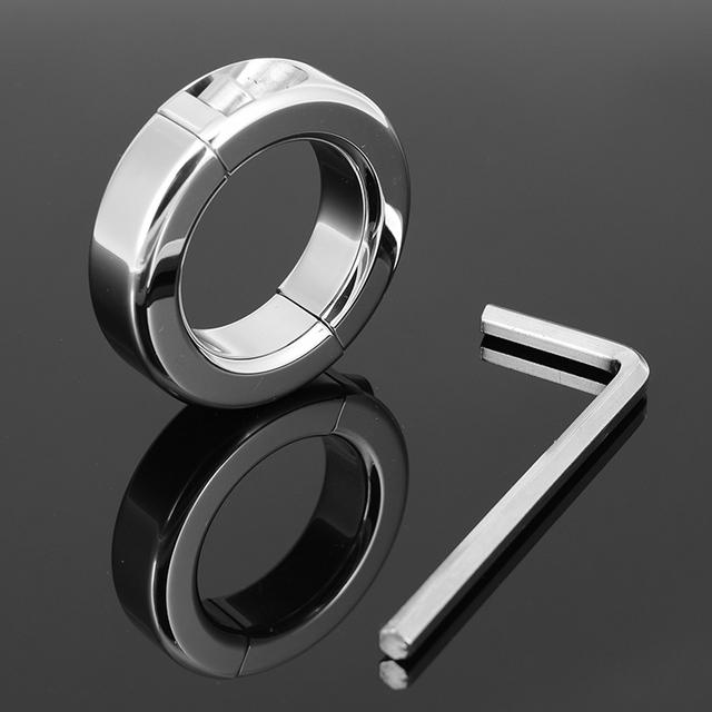 150g en-Diámetro 37mm anillo Escroto Camilla de acero inoxidable Peso de la Bola de metal de Bloqueo Con Bisagras para CBT Cromo juguete sexual