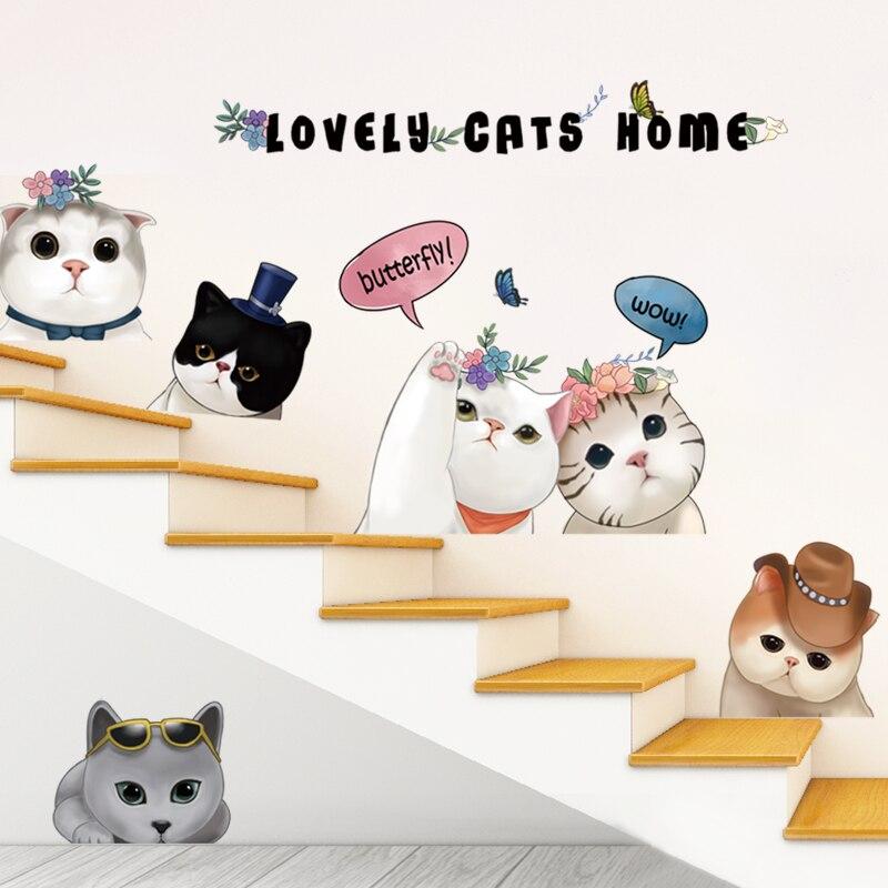[SHIJUEHEZI] Nordic Style Lovely Cats Wall Stickers Vinyl DIY Animal Wall Art for Kids Room Kindergarten Decoration