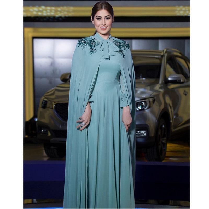 Arabie Arabe Mislim En Mousseline de Soie Robes De Soirée avec Cape Partie Élégante pour les Femmes Dubai Caftan Zipper Manches Longues Formelle Robes 2019