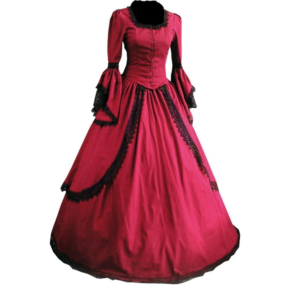 Nejprodávanější dámské krajkové dámské krajkové šaty Gotické viktoriánské šaty období šaty