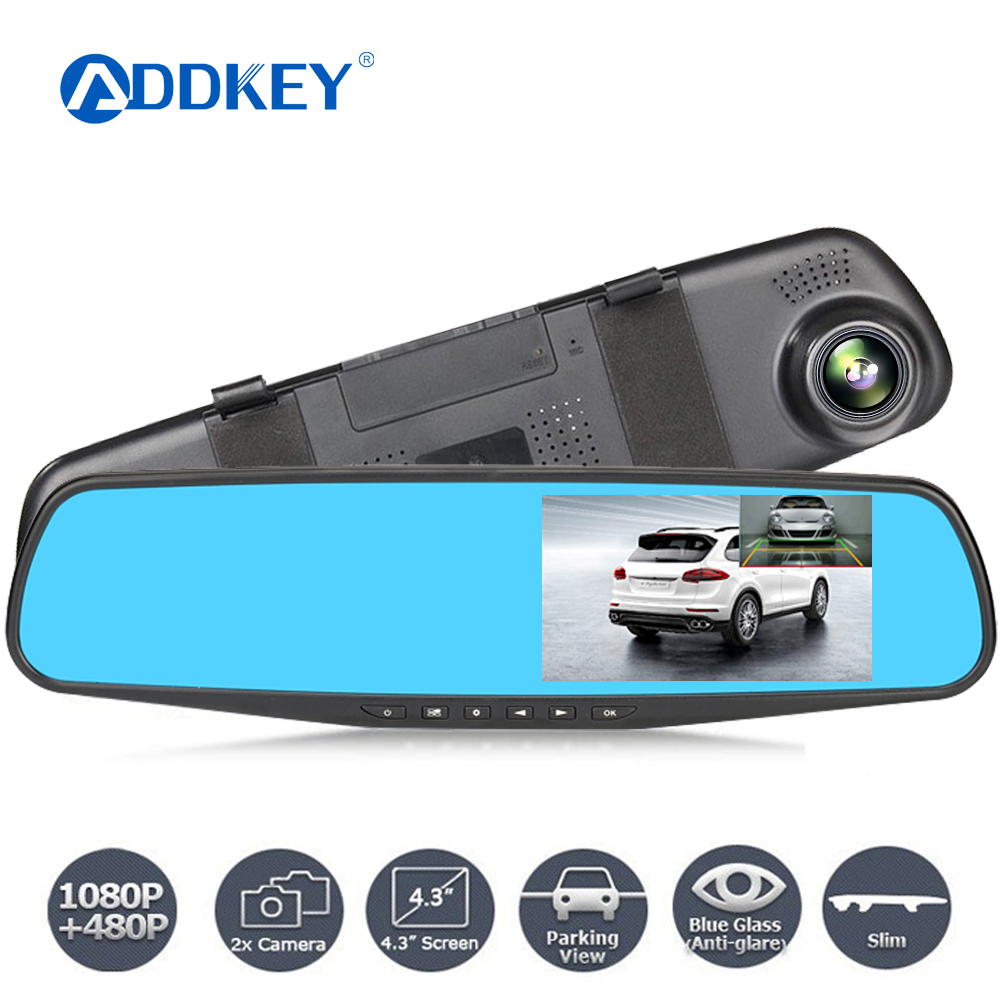 ADDKEY Night Vision Car Dvr Camera Rearview Mirror Digital Video Recorder Auto Camcorder Dash Cam FHD 1080P dual len Registrator