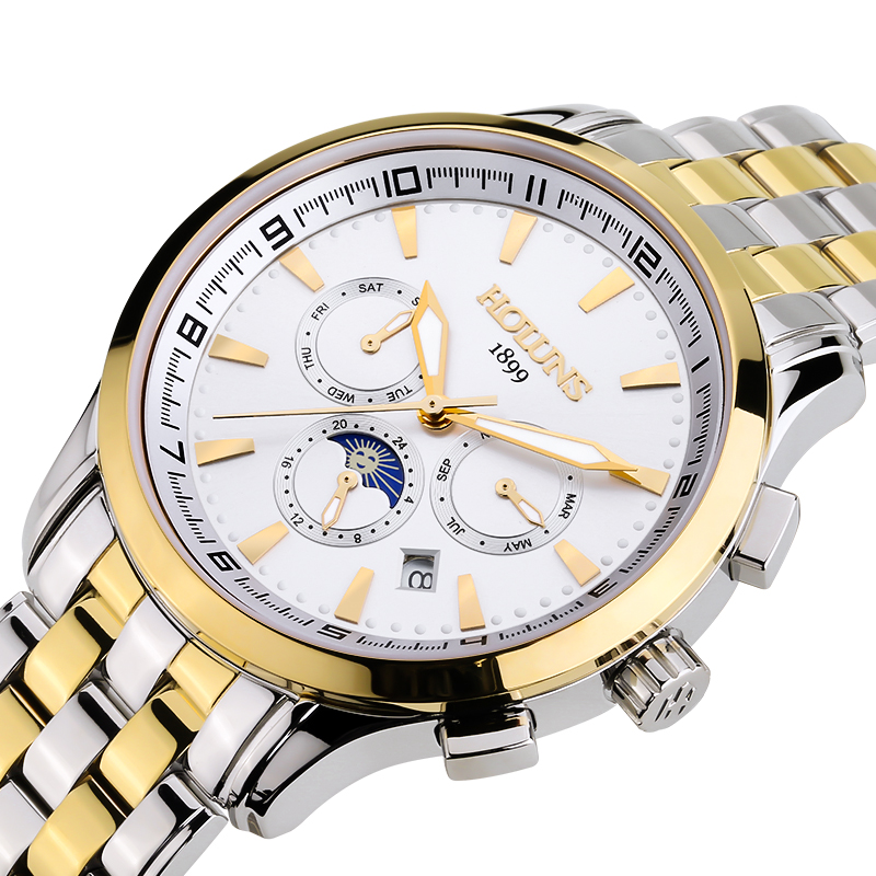 Lunry HOLUNS watch men Moon Phase waterproof date stainless steel Automatic Mechanical watch relogio masculine luxury moon phase watch men sapphire glass stainless steel waterproof automatic machine date watch relogio masculine