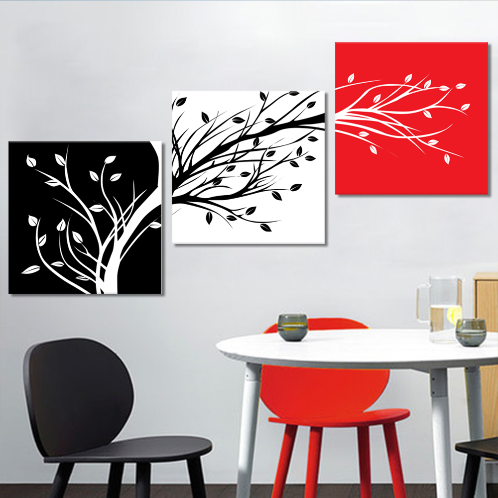 Unframed Multiple Pieces HD Canvas Painting Abstract Oblique Tree Prints Wall Pictures For Living Room Wall Art Decoration