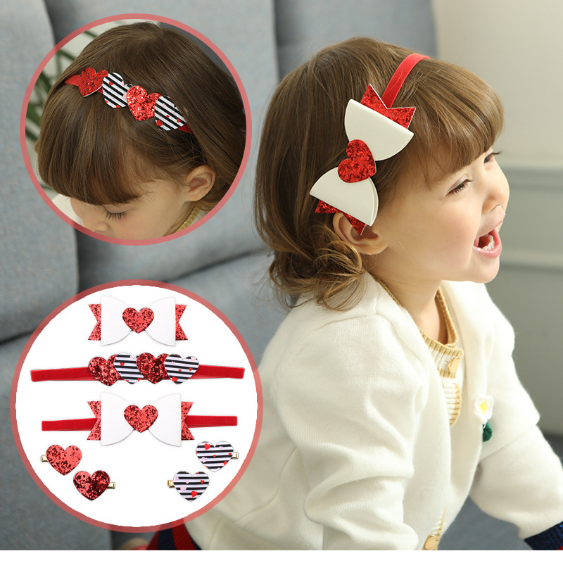 2018 new shinning and Artificial Leather heart headband INS hot girl Fashion Hair Accessory Bow Hair Grips 20ps/lot