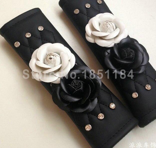 Camellia Flower Rhinestone Leather Car Seat Safety Belt Covers 2pcs Car Interior Decoration - White Black