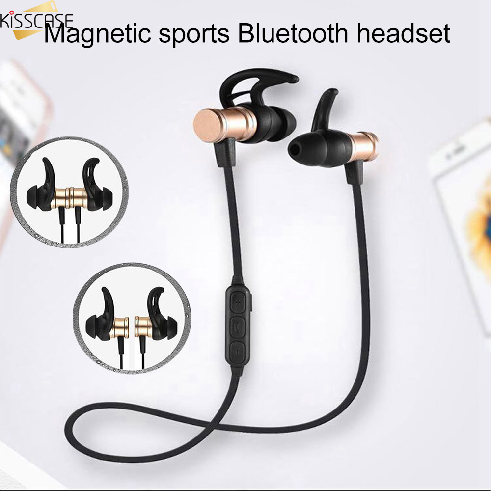 KISSCASE Magnetic Bluetooth Earphone Sports Build-in Mic Wireless Headset with Charging Cable Earphone For All Phone Headphone