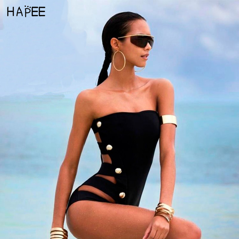 2017 Hollow Sexy Swimwear Multi-buckle One Piece Swimsuit Cut Out Bandage Swimwear Women Monokini maillot de bain one piece trendy rhinestone hollow out heart ear cuff for women