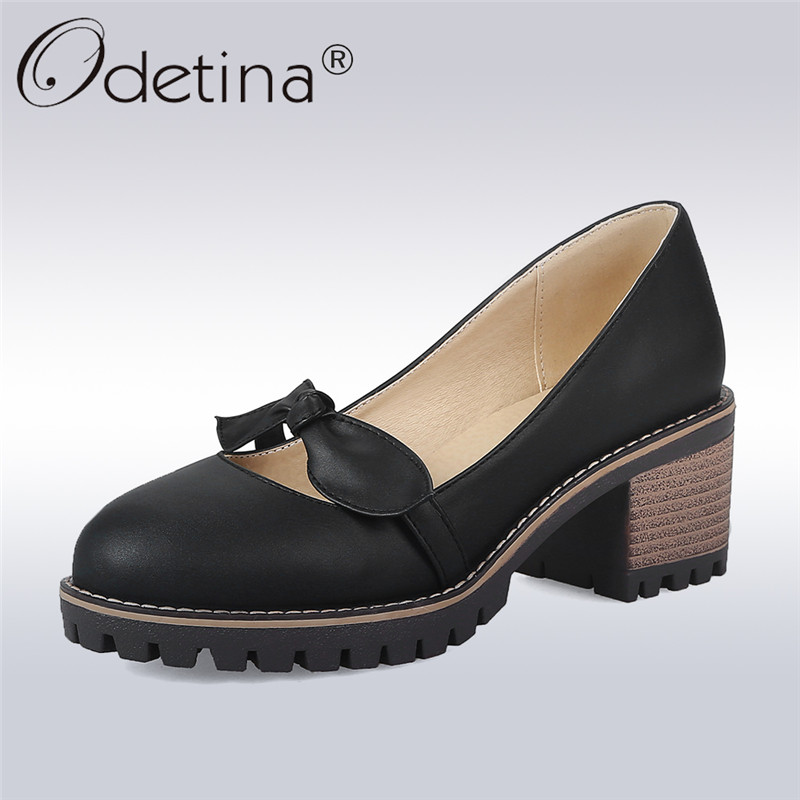 Odetina 2018 New Fashion Chunky Heel Pumps For Women Platform Bowknot Slip On Sweet Shoes Ladies Round Toe Pumps Big Size 34-43 nayiduyun women genuine leather wedge high heel pumps platform creepers round toe slip on casual shoes boots wedge sneakers