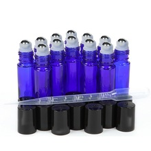 12pcs 10ml Essential Oil Roller Bottles Empty Cobalt Blue Glass with Stainless Steel Roll on Ball for Perfume Essential Oils