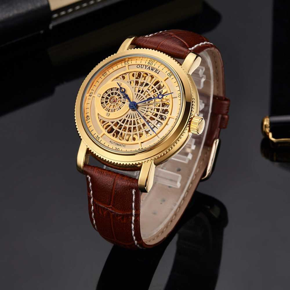 Top 2016 Famous Brand Skeleton Gold Automatic Mechanical Man Wristwatch Brown Leather Band Luxury Fashion Watch montre homme