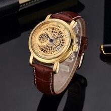 Montre bracelet pour homme, automatique, squelette, or, marque de luxe, bracelet en cuir marron, à la mode