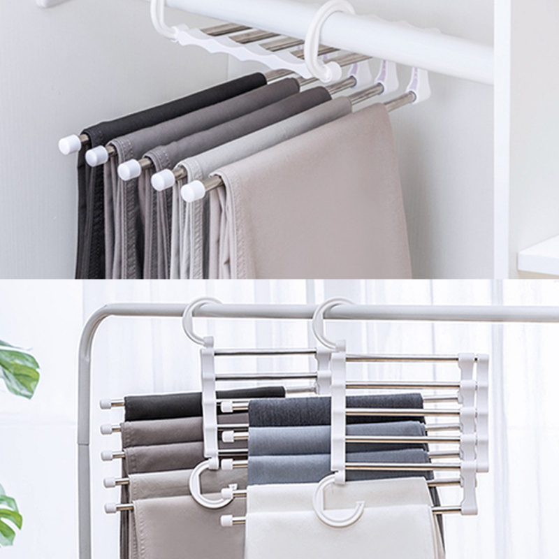 Household Tools Drying Rack 5-in-1 Stainless Steel Magic Pants Rack Multi-function Folding Multi-layer Storage Rack White Брюки