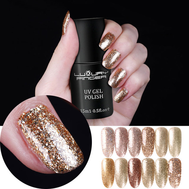 Luxe Vinger 15 ML Champagne Gold Bling Platina Glitter UV Gel ...
