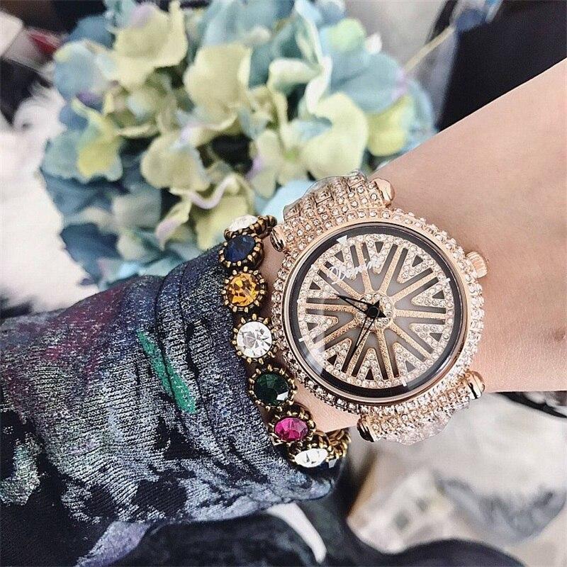 Montre femme montre bracelet de luxe marque complet diamant cadran rotatif or dames femmes montres horloge femme Relogio Feminino