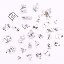 цена All Silver Metal Designs and Words Charms for Jewelry Making DIY Accessories Bracelets Charms for Novelty Jewelry Crafts онлайн в 2017 году