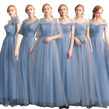 New Long Elegant Bridesmaid Dress 2019 Gray Blue Bridesmaid Sisters Dress Formal Occasion Prom Dress Burgundy Bridesmaid Dresses фото
