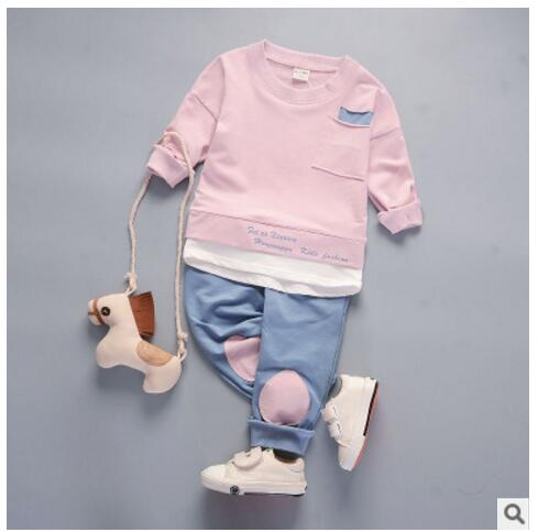 Spring 2pcs Various Sizes Cute Grey Unisex Top and Pants Baby Outfit
