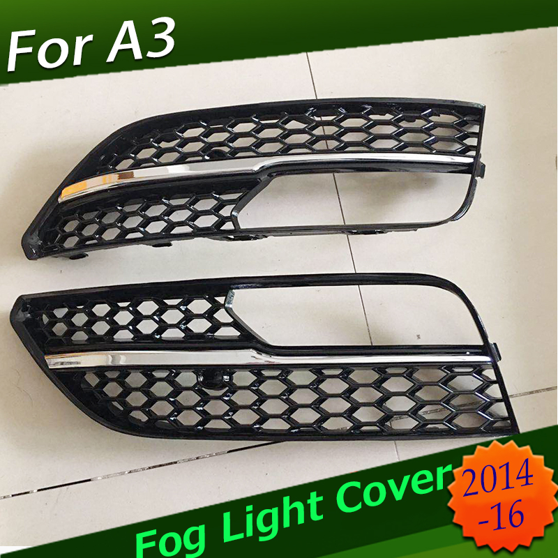 For RS3 Style Front Bumper Fog Light Grilles Gloss Black for Audi A3 S-Line 8V 2013 2014 2015 2016 Car-stylingFor RS3 Style Front Bumper Fog Light Grilles Gloss Black for Audi A3 S-Line 8V 2013 2014 2015 2016 Car-styling