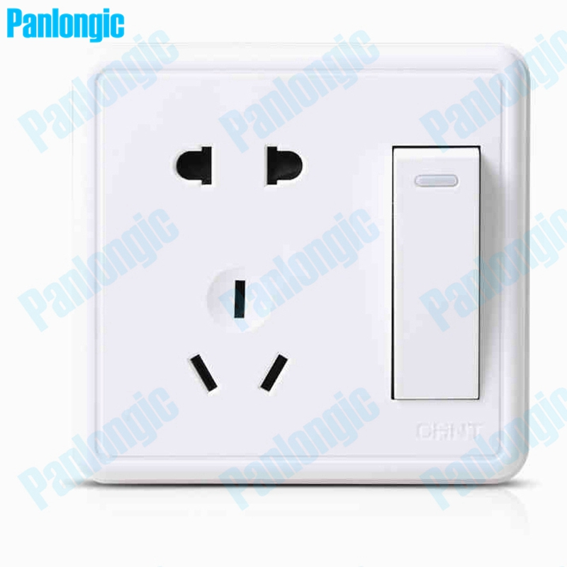 цена на Surface Mounted Pure White 86 Type Wall Socket Panel 5-Pins And 1-Switch Outlet Electric 10A Electrical Plugs Sockets