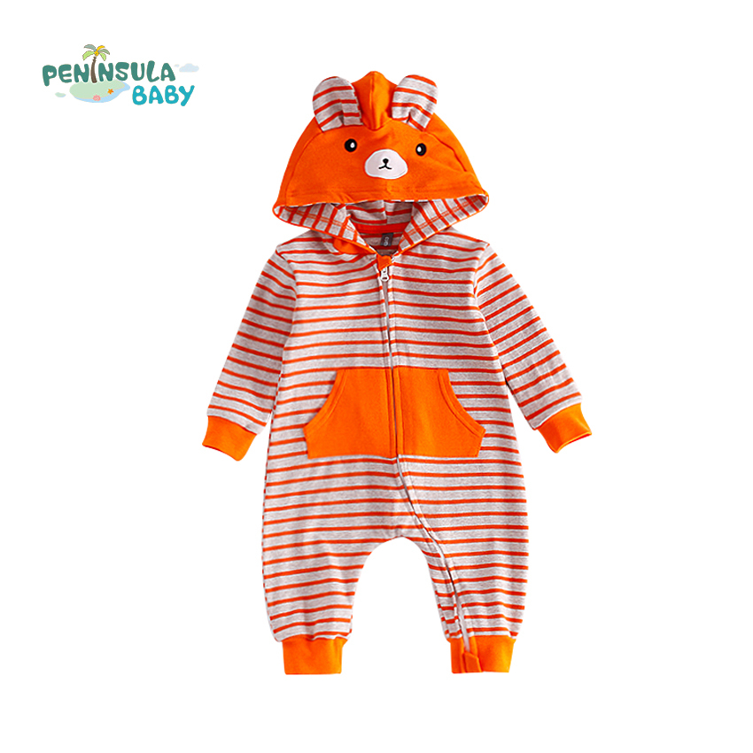 Baby Clothes Hooded Zipper Striped Cartoon Rabbit Ears Pocket Boys Girls Spring Autumn Long Sleeve Jumpsuits Casual Baby Rompers cotton baby rompers set newborn clothes baby clothing boys girls cartoon jumpsuits long sleeve overalls coveralls autumn winter