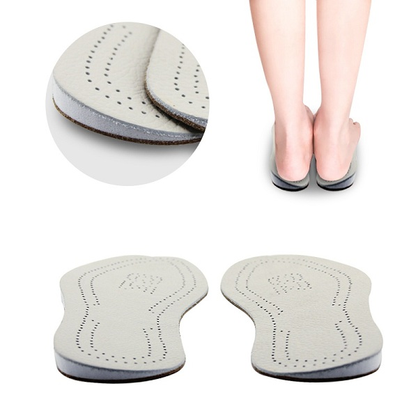 Unisex O-type Leg Valgus Corrector Orthotic Insoles Women Men Foot Pad Leather Cushion White L