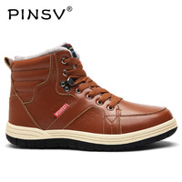 PINSV Winter Boots Men Shoes Leather Warm Snow Boots Men Winter Shoes Fur Ankle Work Boots