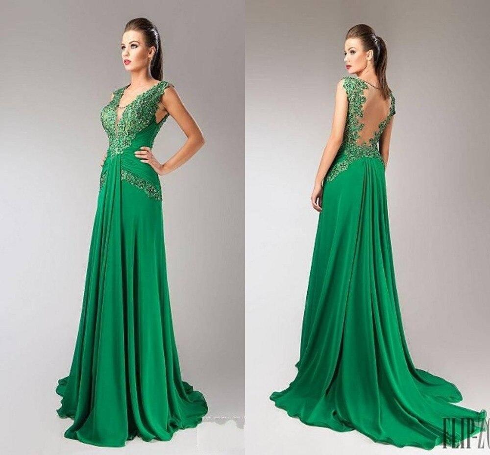 Vestido verde fiesta largo