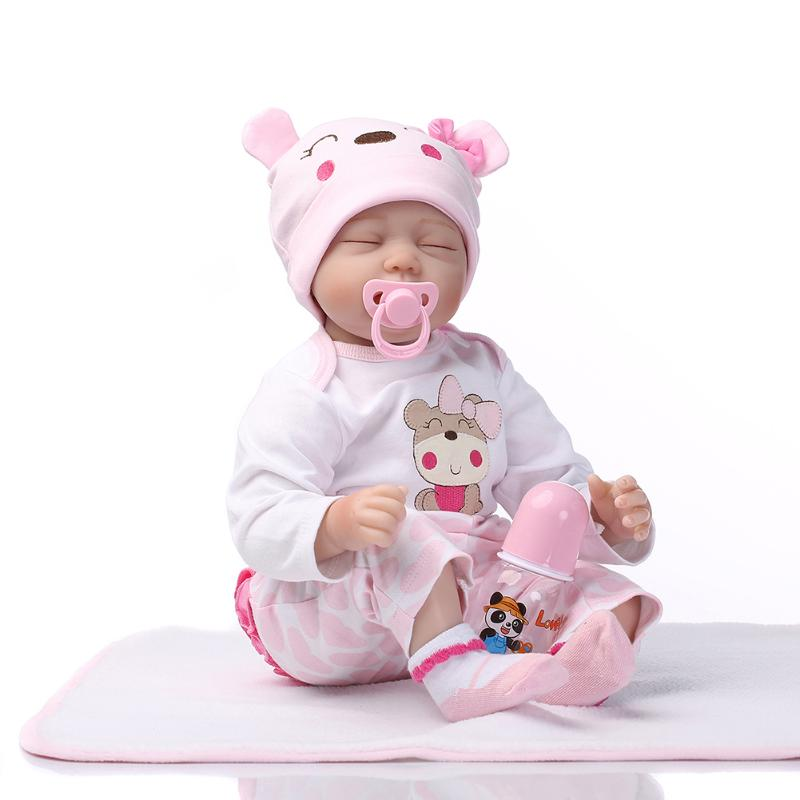 55Cm Simulation Reborn Cute Doll Soft Silicone Artificial Kids Cloth Doll Play Toy Mohair Implantation Baby Birthday Ideal Gift