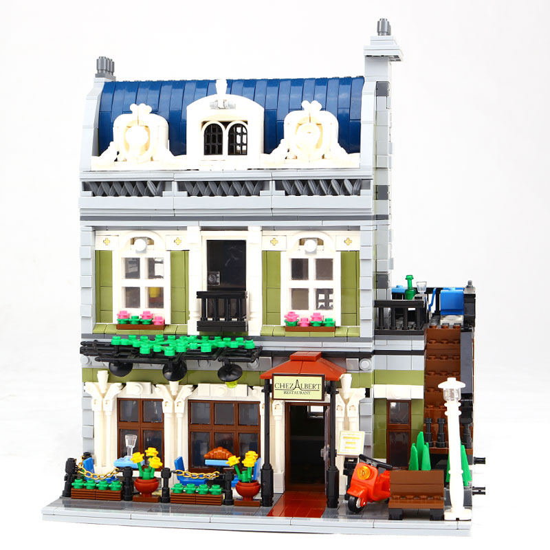 Mit licht Lepin 15010 2418 Stucke Expert Stadtstrabe Pariser Restaurant Modellbau Kits Blocke DIY Spielzeug Kompatibel 10243 lepin 06058 ninja serie die tempel der ultimative ultimative waffe modell bausteine set kompatibel 70617 spielzeug fur kinder