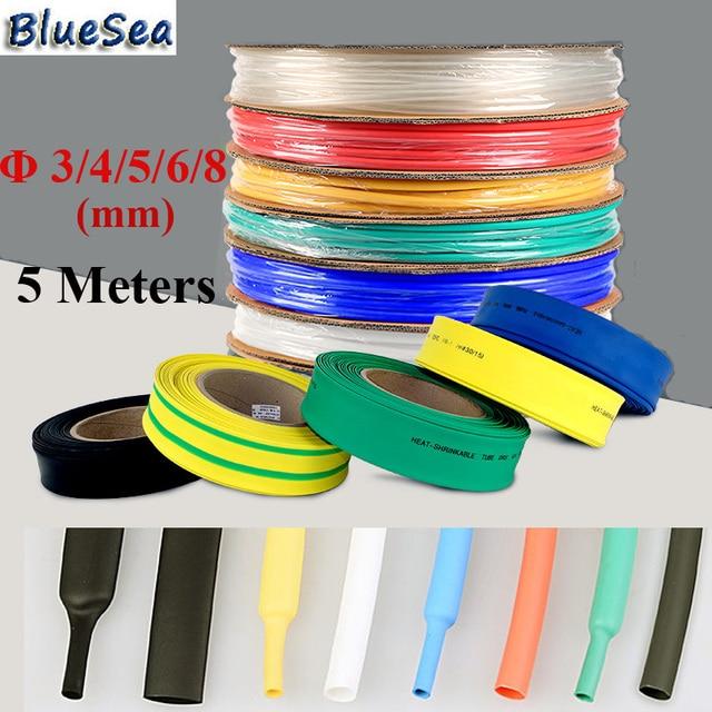 BlueSea 5M/Roll 3/4/5/6/8mm Heat Shrinkable Tube Assist Hooks Plastic Heat shrink Tube Assistant Fish Hooks Thermal-plastic Tube