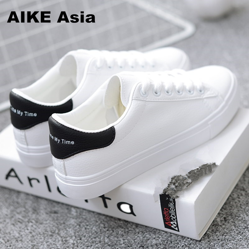 HOT Women Sneakers 2018 Fashion Breathble Vulcanized Shoes Women Pu leather Platform Shoes Women Lace up Casual Shoes White sportive women flower pattern embroidered white pu leather shoes lace up sneaker